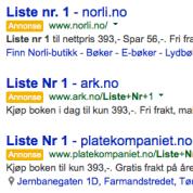 """Et søk på """"Liste nr. 1"""" viser utgivelsens potensiale på toppen av Googles treffliste"""